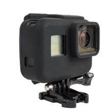 Borracha macia Silicone Protetor Caso de Habitação para GoPro Hero 6 5 esporte Câmera Gopro hero 5 Tampa Da Pele Casos Fundas Coque Preto
