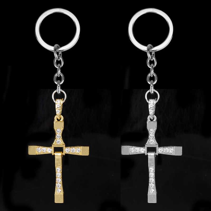 Dongsheng Grosir Cepat Dan Furious 8 Keychain Kristal Toretto Cross Pendant Keychain Aksesoris Untuk Wanita Pria Jesus Cross-50