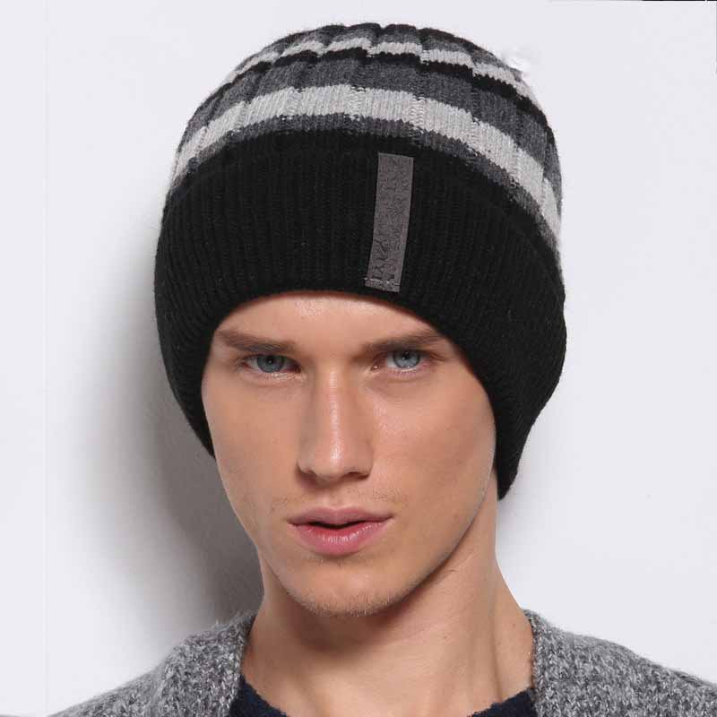 Adofeeno Winter Knitted Hats For Men Stripe Cap Warm Ear Protection Hats Skullies Beanies Mask Caps Casual Balaclava men s skullies winter wool knitted hat outdoor warm casual solid caps for men caps hats
