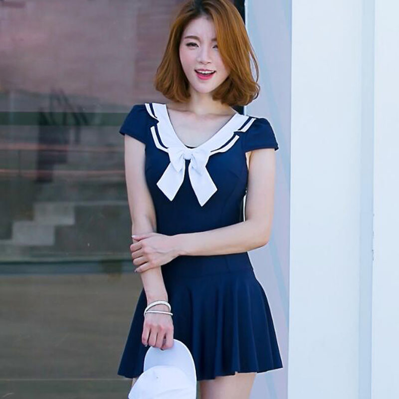 Lolita Navy Style Cute One-Piece Swimsuit Solid Color White Bowknot Sexy Beach Swimwear Quick Dry V-Neck Slim Women Bathing Suit page swimsuit sw0670 navy mult