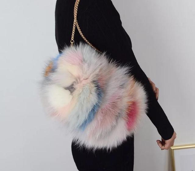 Новинка 2018 года, женская сумка на ремне с натуральным мехом, повседневный клатч из лисьего меха, кожаная женская сумка, Роскошная сумочка с цепочками
