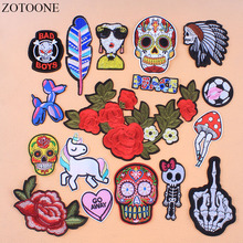 ZOTOONE Punk Rock Skull Embroidery Patches Unicorn Flower Rose Skeleton Iron On Biker Heart Clothes Stickers Applique E