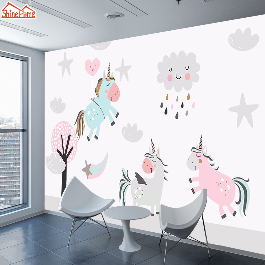 Cartoon Unicorn 3 D Murals Wallpapers Photo Wallpaper For Walls Paper 3d On Wall Papers Home Decor Living Room Kids Boy Bedroom