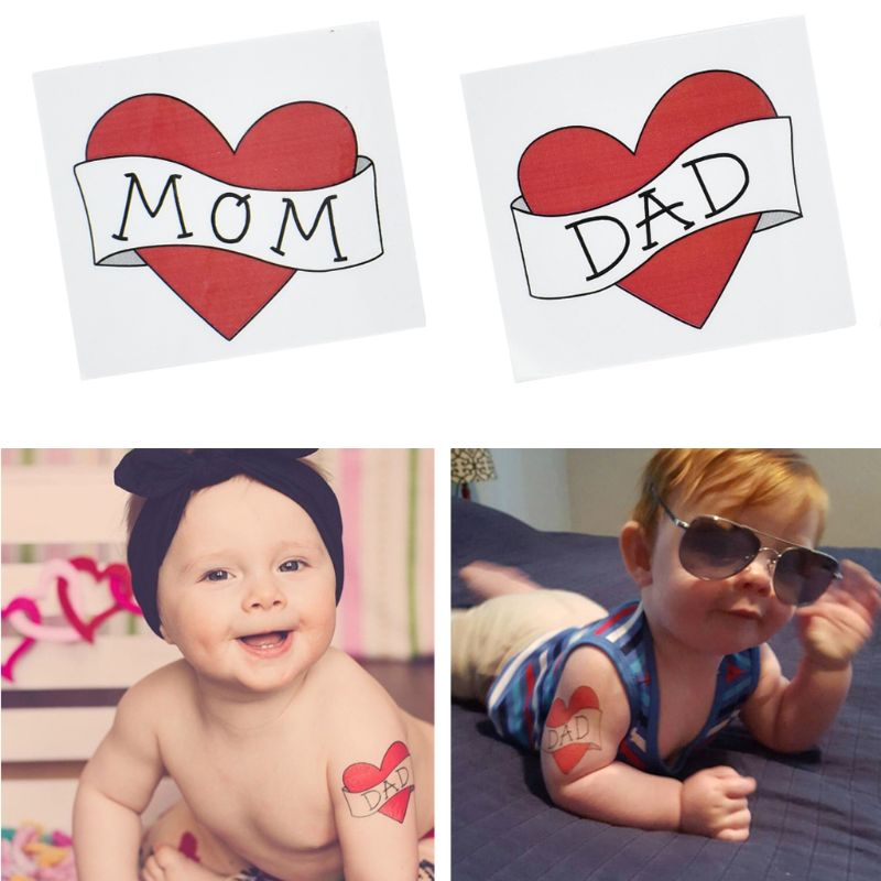 Waterproof Removable Temporary Tattoo Sticker Red Heart Love Dad/Mom Kids Boys Girls Fake Tattoos Child Baby Photography Prop(China)