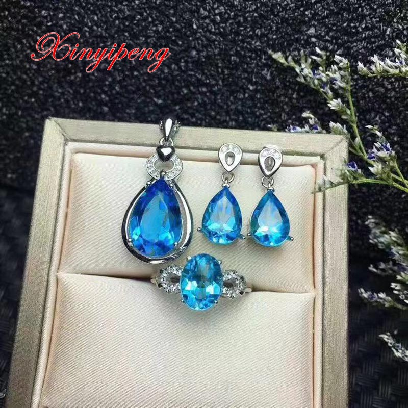 Xin yi peng 925 silver plated white inlaid natural blue topaz stone pendant earrings ring jewelry set women generousXin yi peng 925 silver plated white inlaid natural blue topaz stone pendant earrings ring jewelry set women generous