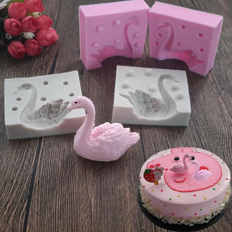 3D Bella Swan Fondente Stampo In Silicone Candela del Mestiere Dello Zucchero Strumento di Cioccolato Muffa