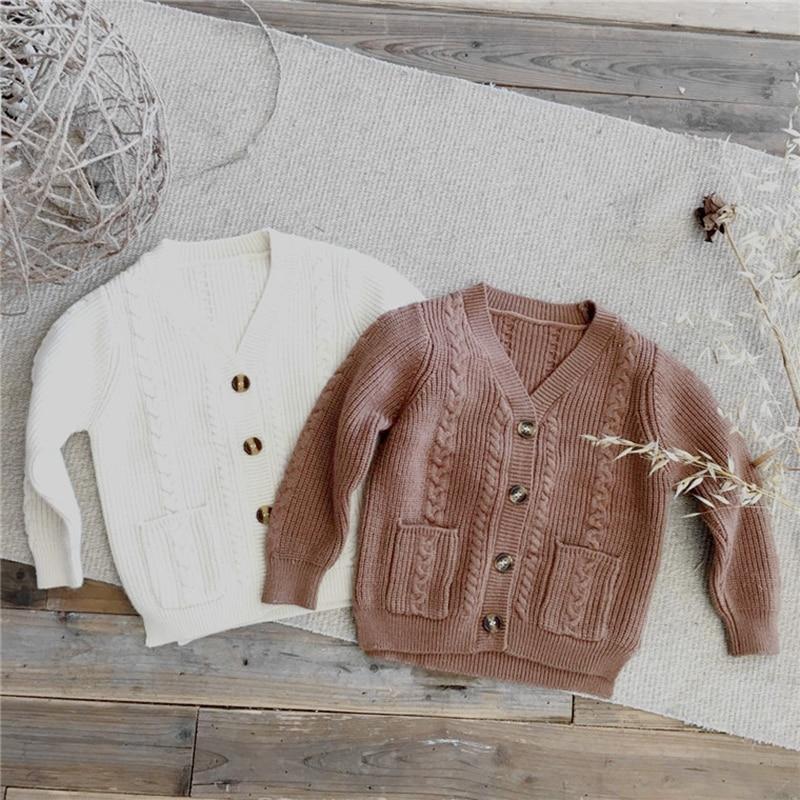 Korean Style Baby Boys Knit Sweater Cardigans Spring Autumn Children's Cardigan Jackets Baby Girls Knitted Cardigan Long Sleeve long sleeve draped tunic cardigan