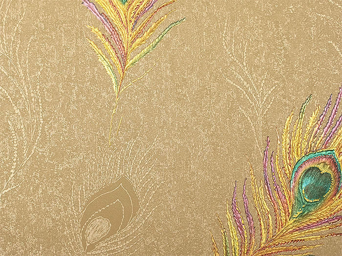 Retro peacock feathers mural wall paper Luxury golden 3D embossed gold foil wallpaper roll Living room bedroom wallpaper