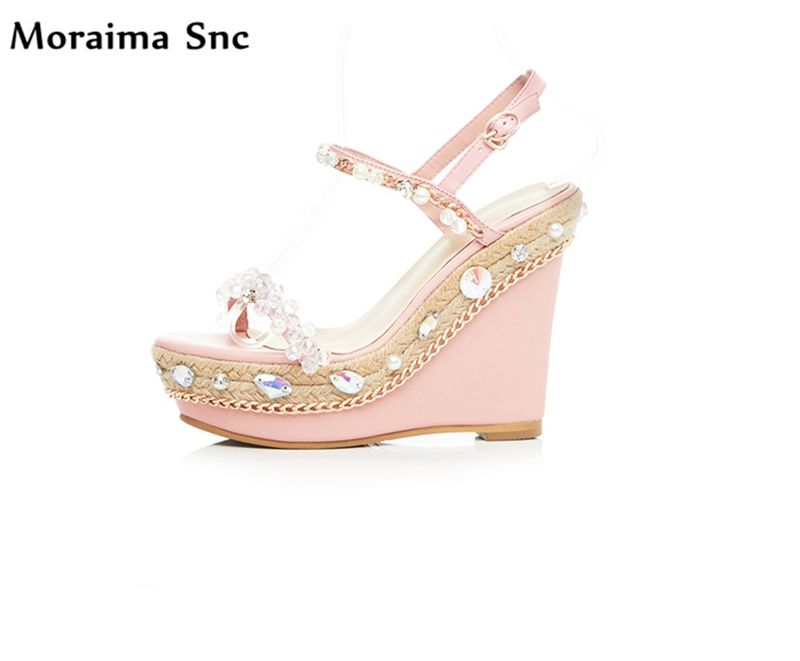 Moraima Snc popular women sandals high heel open toe Ankle buckle wedges platform crystal metal chain Decoration party shoes karinluna popular women sandals ankle strap buckle small bowtie crystal bordered wedges open toe platform party shoes for women