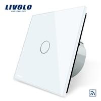 Livolo EU Standard Remote Switch Crystal Glass Panel 220 250V Wall Light Remote Touch Switch VL