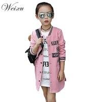Children S Windbreaker For Baby Girls Fashion Kids Spring Autumn Letter Outwear Jacket Teenager Long Baseball