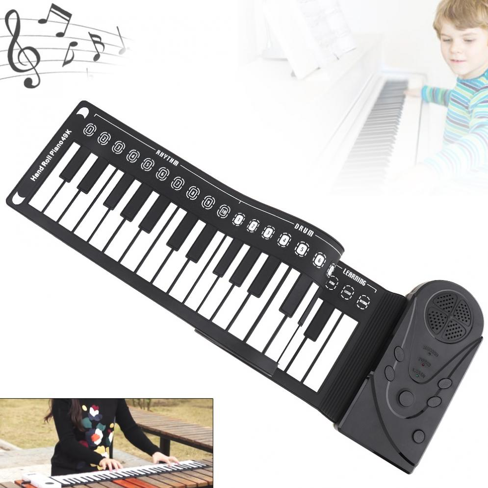49 Keys Electronic Portable Silicon Flexible Hand Folding Roll Up Piano Built-in Speaker Children Toys Keyboard Organ