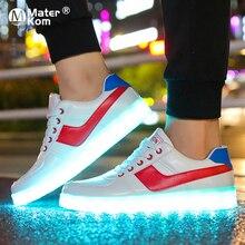 Boyutu 35 44 Yetişkin Unisex Kadın ve Erkek Platformu düz ayakkabı Kadın Ayakkabı ile Led Krasovki Aydınlık Arkadan Aydınlatmalı led Terlik