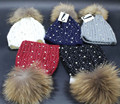 2016 Winter New Fashion 100% Real Raccoon Fur Hats fur ball Lady's pom poms Knitted Beanies Cap wool wholesale women brand new
