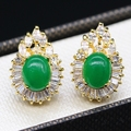 Classic Style Jewelry Teardrop Charm Gold Plated Round Jade&AAA CZ  Earrings For Women