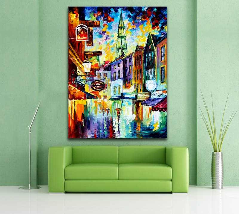 100 Hand painted Palette font b Knife b font Canvas Painting Italy Belgium France Cityscape Architecture
