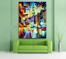 100% Hand-painted Palette Knife Canvas Painting Italy Belgium France Cityscape Architecture Art Wall Picture Home Decor No Frame