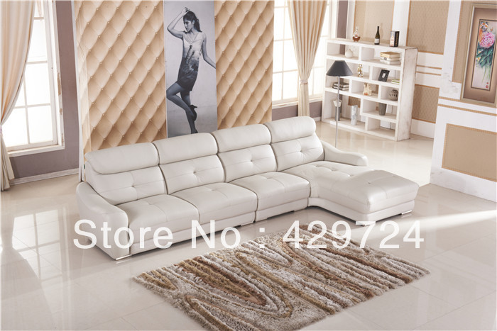 Free Shipping Classic White leather L shaped corner sofa set