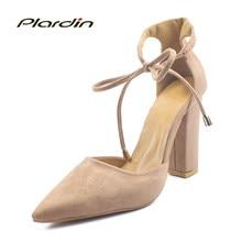Plardin nueva mujeres superficial moda dulce tobillo Correa zapatos mujer  punta estrecha tacones finos Mujer mariposa 19f2a1dc2eee