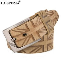 LA SPEZIA Genuine Leather Belts For Men Khaki Print Pin Buckle Belt Male 2019 Brand Real Leather Cowhide Square Accessories Belt