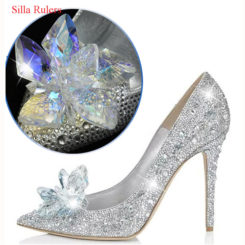 New Gold Cinderella Crystal Shoes Woman Stiletto High Heels Women Pumps Red Rhinestone Women Wedding Shoes Slipper Zapatos Mujer