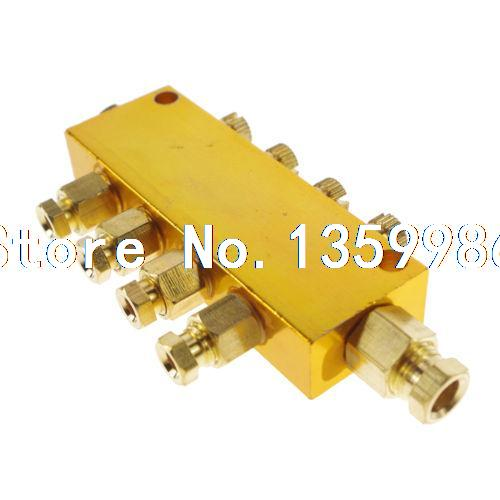 Brass 4 Ways Adjustable Oil Distributor Valve Manifold Block 6mm inlet 4mm out ннх шапка