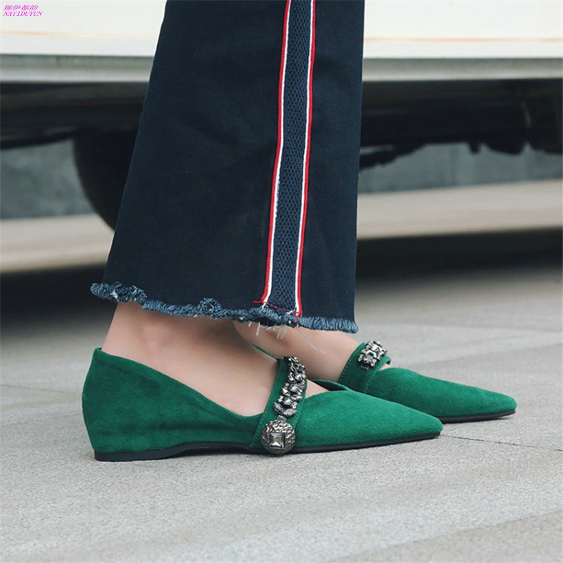 NAYIDUYUN 2018 Women Shoes Cow Suede Leather Pointed Toe Ballet Flats Party Oxfords Shallow Casual Ankle Boots Office Slippers miquinha silver patent leather pointed toe women ballet flats ankle strappy metallic lock metal decoration party women shoes