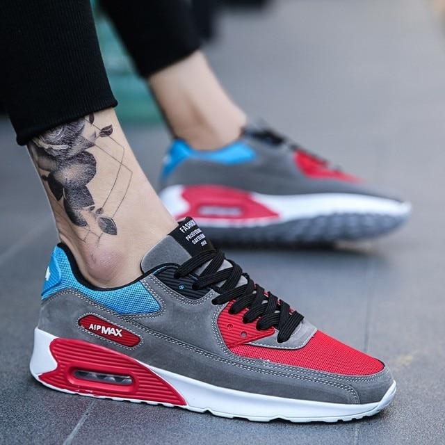 Zapatillas para correr de hombre para hombre, almohadón de aire, cómodas y transpirables, con cordones, zapatillas de deporte de estabilidad para exteriores para adultos, tamaño máximo 39-47