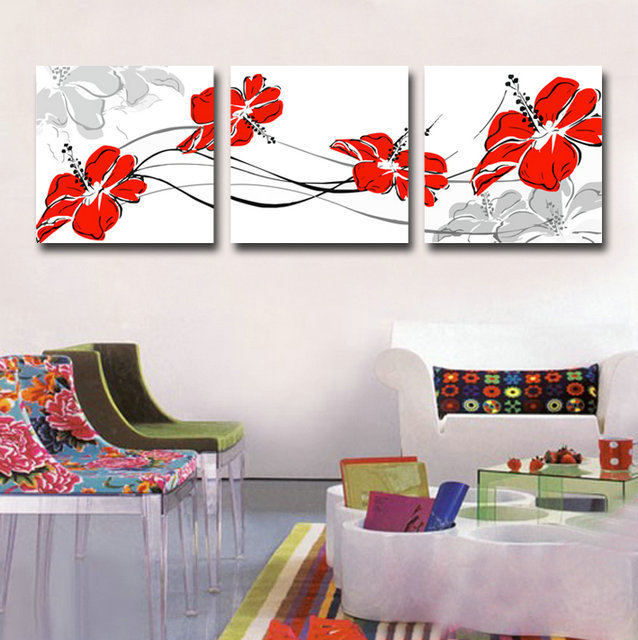 Canvas Art Print Red Flower set of 3 Modern Wall Pictures for Living ...