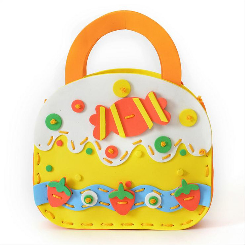 10pcs DIY EVA handmade bags Kid Educational toys 10 models Cartoon hand sewn mini bags safe