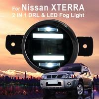 for Nissan XTERRA 3.5 90mm Round LED Fog Light Daytime Running Lamp Assembly LED Chips Fog Lamp DRL Lightings Lens 2005 2009