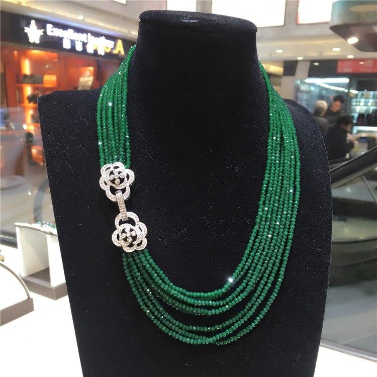 Heißer verkauf doppelnutzung 9 10mm weiß süßwasser perlenkette grüne perlen mehrschichtige lange pullover kette modeschmuck-in Kette Halsketten aus Schmuck und Accessoires bei  Gruppe 3