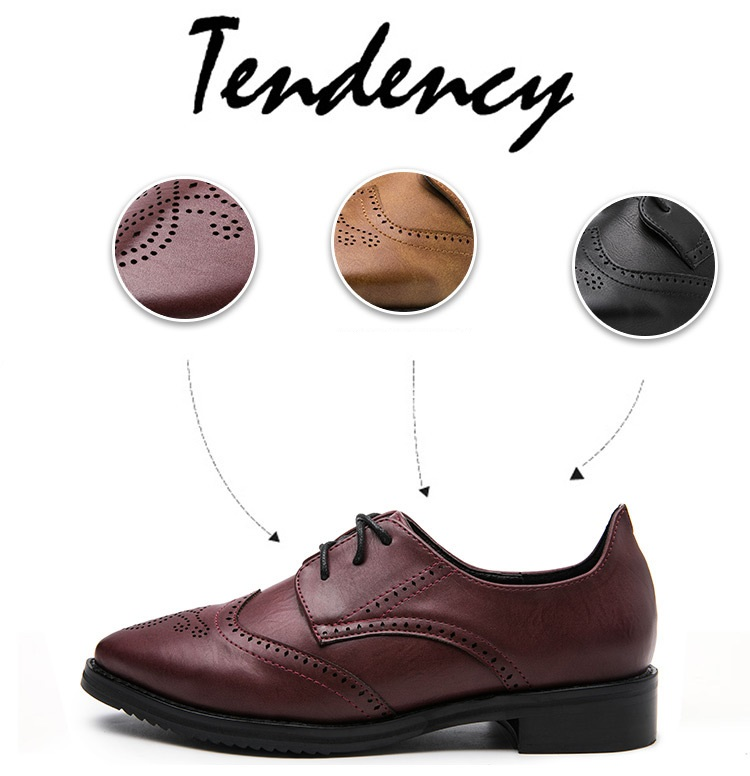 Fashion British Style Women s Derby Pointed Toe Women s Brockden Shoe  Preppy Style Lacing Thick Heels Casual Female Brogue Flats USD 29.40 pair 11f39bb97ac1
