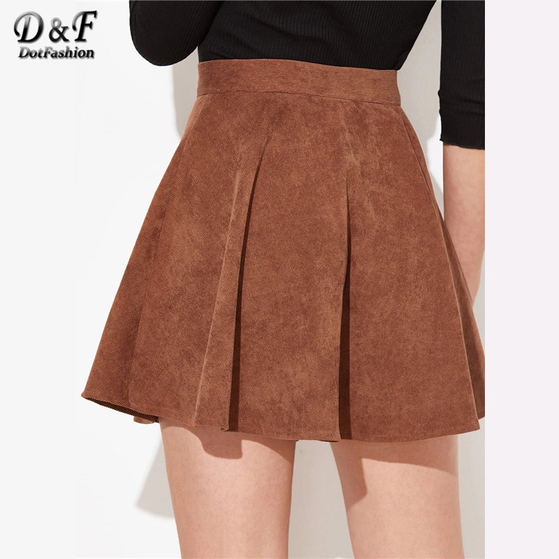 Image 2 - Dotfashion Solid Button Up Flare Cord Skirt Women 2019 Preppy Summer Casual Spring Ladies Fashion Mid Waist Short Skater Skirts-in Skirts from Women's Clothing