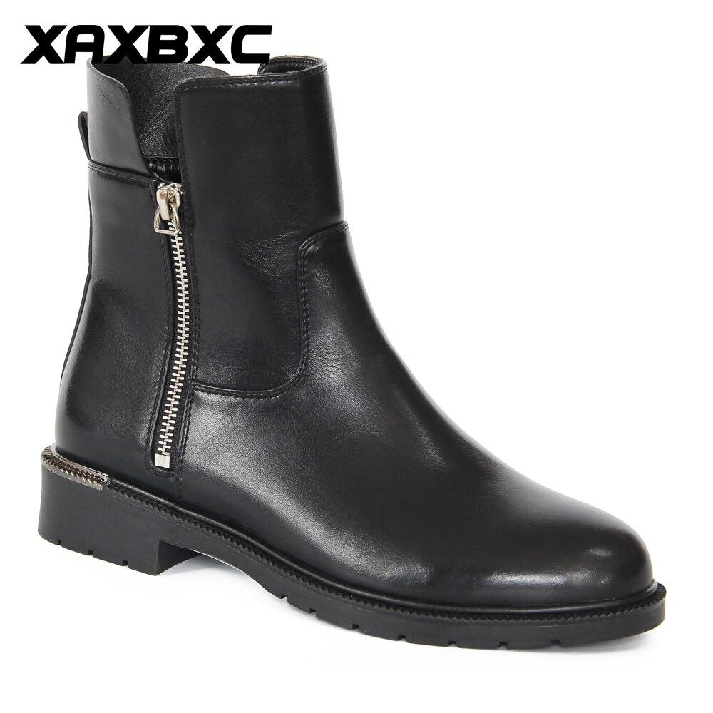 2019 Damas Zapatos Las Mano Corta Con k974 Tacones Hecho H185 Negro Tobillo Black Invierno A De Espana Nueva Bajos Mujer Piel Corto Casual Mujeres Cremallera Botas rBqRFr