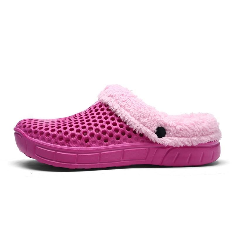 2018 Winter Croc Shoes Beach Sandals Soft Plush Cotton Warm Slides flats  Shoes Unisex Floor Home Women Hole Slippers Fishing -in Beach   Outdoor  Sandals ... 317e65c9876c