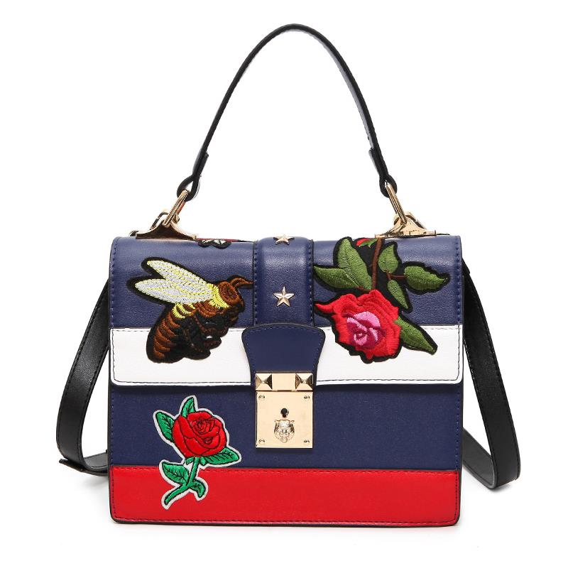 Women Messenger Bags Vintage Pu Leather Shoulder Bag Female Floral/Bee Embroidered Handbags Ladies louis Lock Crossbody Bag Tote sunmejoy fashion ribbons handbags designer women bag crossbody bags rivet shoulder bags embroidered floral women messenger bag