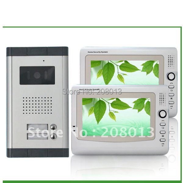 Cheapest promotion free shipping large screen cheap wired 7 inch video door phone for 2 apartment 1+2