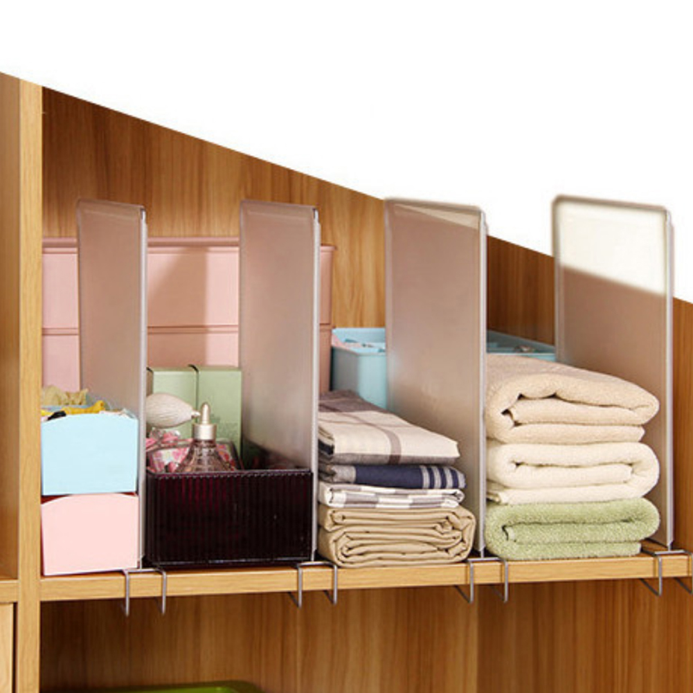 4 Pcs PP Closet Divider Shelf Drawer Organizer Holders Bedroom Clothes Storage Space Saving Stable Wire Design Bathroom Wardrobe(China)