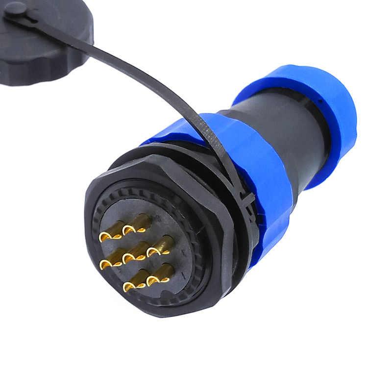 Conector SP28 recto a prueba de agua 2 pines 3/4/5/6/7/9/10/12/14/16/19/22/24/26 pin IP68 zócalo roscado