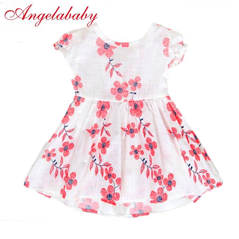 2018 для девочек китайский Стиль платье небольшой свежий Стиль спинки Дизайн для Детские платья с цветами хлопковая одежда для малышей