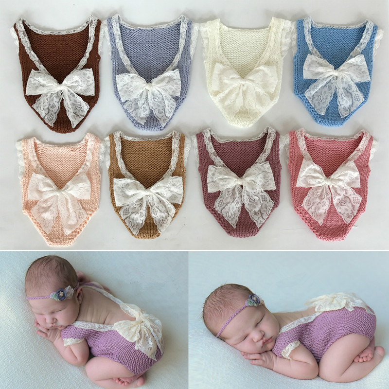 Newborn Baby Photography Props Lace Bow Baby Girl Knit Romper Infant Photography Clothes Baby Photo Props Accessories Fotografie