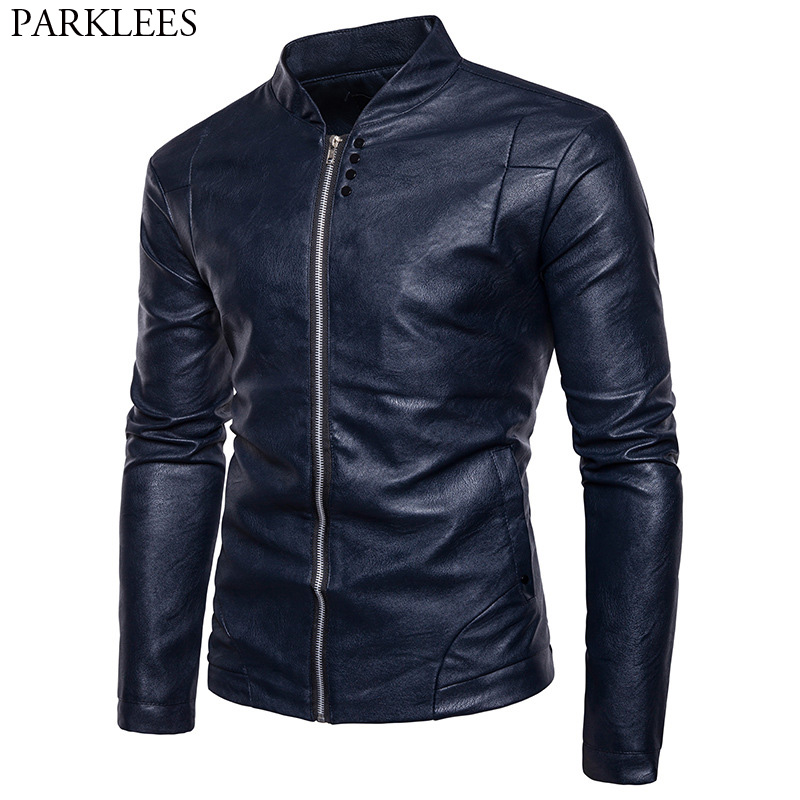 Motorcycle Leather Jacket Men 2017 High Quality Men's Autumn Winter PU Leather Jacket Casual Stand Collar Mens Jackets and Coats hanqiu leather jacket men winter autumn pu faux leather solid jackets slim fit zipper pocket stand collar casual men jacket
