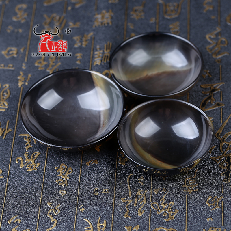 Pure handmade natural water buffalo horn small bowl with thick black horn bowl.