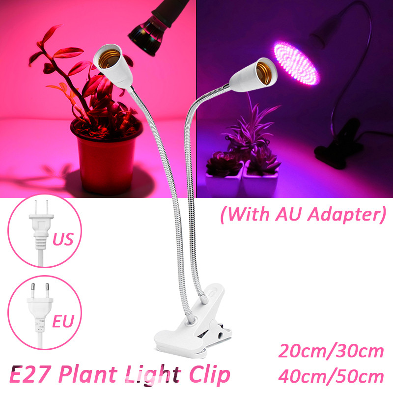 US/EU Plug E27 Lamp Base Plant Grow Light Lamp Holder 20/30/40/50cm Double Head Lamp Clip Light Clip Lamp Holder With Switch