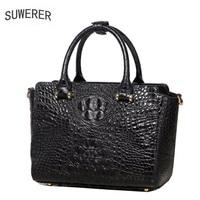 SUWERER100% High Quality 2018 New 100% High quality Luxury Fashionable Luxury Cowhide Crocodile Shoulder Bag Designer Products