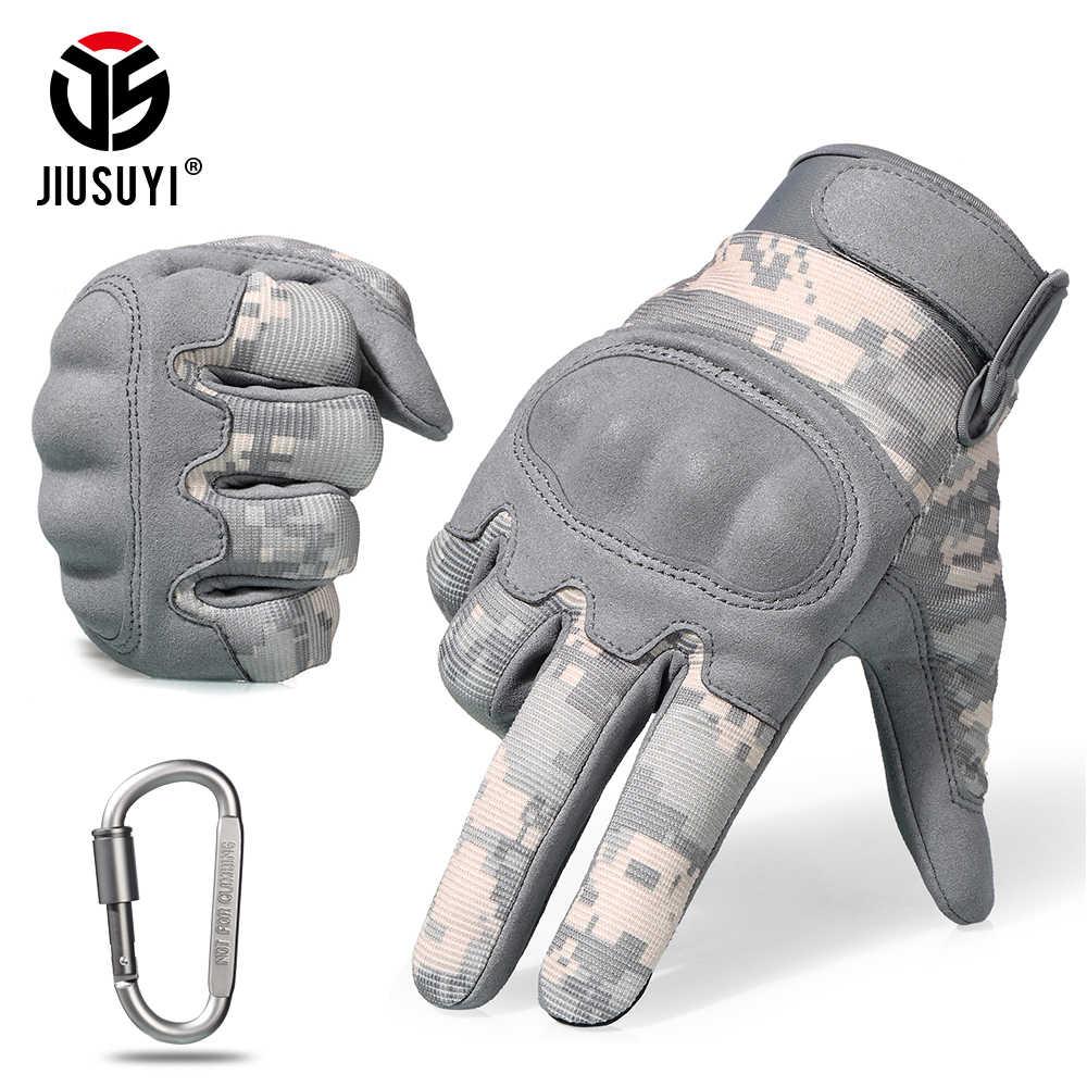 ACU камуфляж сенсорный экран тактические перчатки военные страйкбол Пейнтбол Стрельба боевой противоскользящие с твердыми костяшками полный палец перчатки Мужчины