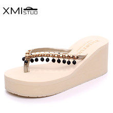 Summer slippers with beads pendant PU female high-heeled woman flops thick soled gril string bead