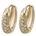 Gold Unique Design Wedding Earrings Filled Inlay Round Clear Cubic Zirconia Small Hoop Earrings for Women's Party Gift