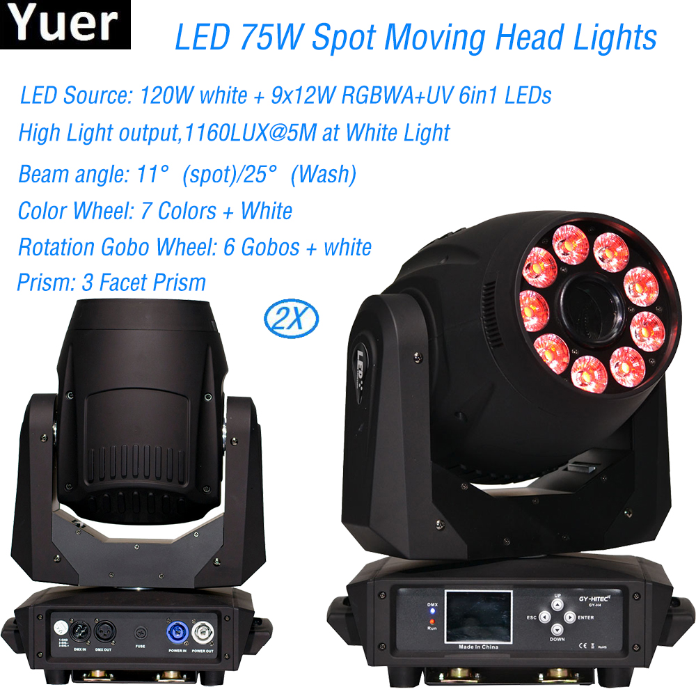 Flightcase Pack NEW 9x12W RGBWA UV Spot Wash 75w Led Moving Head Spot Wash Light Wedding Party Disco KTV Bar Club DJ Stage Light discount price 2 pack 200w led moving head spot wash 2in1 light 75w white 9 12w rgbwa purple leds mini rotate gobo color wheel